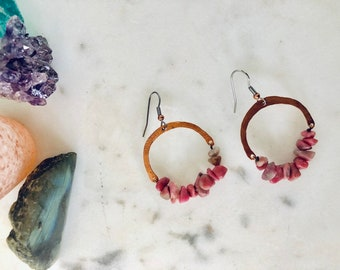 Rose Rhodonite Hammered Copper Earrings /  Nina Carina / Chandellier Drop Dangle / Gift  for / Mom / Sister / Friend / Her / Pink / Holiday