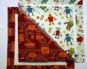 Small Baby Blankets- Robot