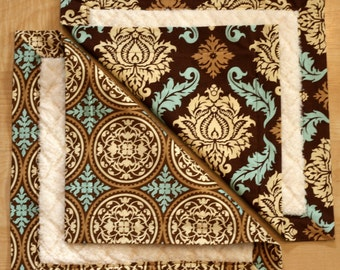 Small Baby Blankets- Brown Damask