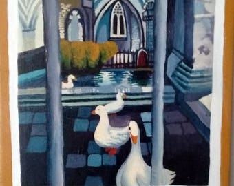 Ducks, Spanish Cathedral- Acrylic Painting -2017- 14X20in