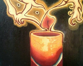 CANDLE GEOMETRY, Original Acrylic Painting, 16X20in.