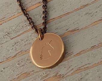 Custom Engraved Gold Pendant Necklace, Initials, Symbols, Names, Dates, Logo, Image, Fingerprint, Handwritting in any language