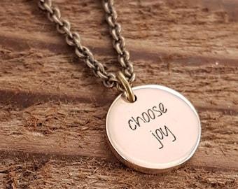 Custom Word Necklace Engraved Message Personalized Gold Bronze Pendant Necklace, Initials, Symbols, Names, Dates, Logo, Image, Fingerprint