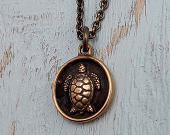 Turtle Charm Pendant Necklace - Solid Hand Cast Jewelers Bronze - Polished Oxidized Finish - Personalized Gift Engraving Available