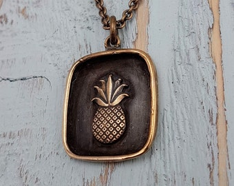 Pineapple Charm Pendant Necklace - Solid Hand Cast Jewelers Bronze - Polished Oxidized Finish - Custom Gift Engraving Available