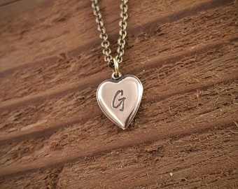 Vintage Style Custom Engraved Letter Necklace Personalized Heart Necklace Gold Bronze Engraved Gold Letter Necklace, Intitial Charm