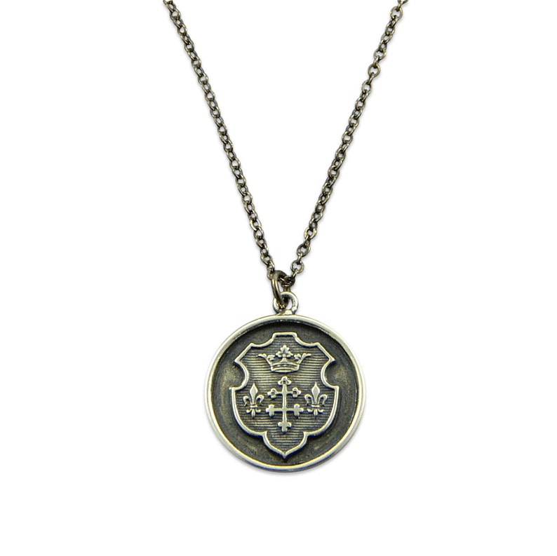 Royal Coat of Arms Crest Custom Words Custom Engraved Disc Necklace Fleur de Lis and Crown Silver Shield Necklace