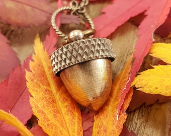 Acorn Canister Locket Cremation Ashes Stash Necklace  - Solid Antique Brass - Multiple Chain Lengths Available