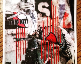 Bleeding Heart - Mixed Media Art - Embroidered Photography