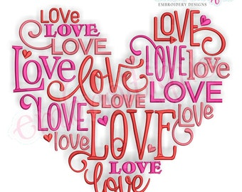 Love Word Jumble Heart Love Valentine Wedding Marriage Husband Wife Instant Download Machine Embroidery