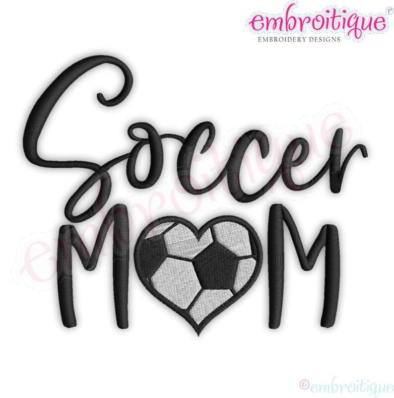 ebf3b78a9 Soccer Mom Script with Fill stitch Heart Soccer Ball Spirit   Etsy
