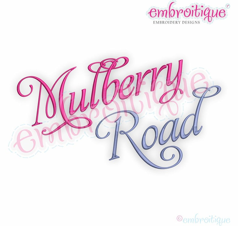 Mulberry Road Set 1 - Alphabet & Numbers Font - Italic Script - 0 75