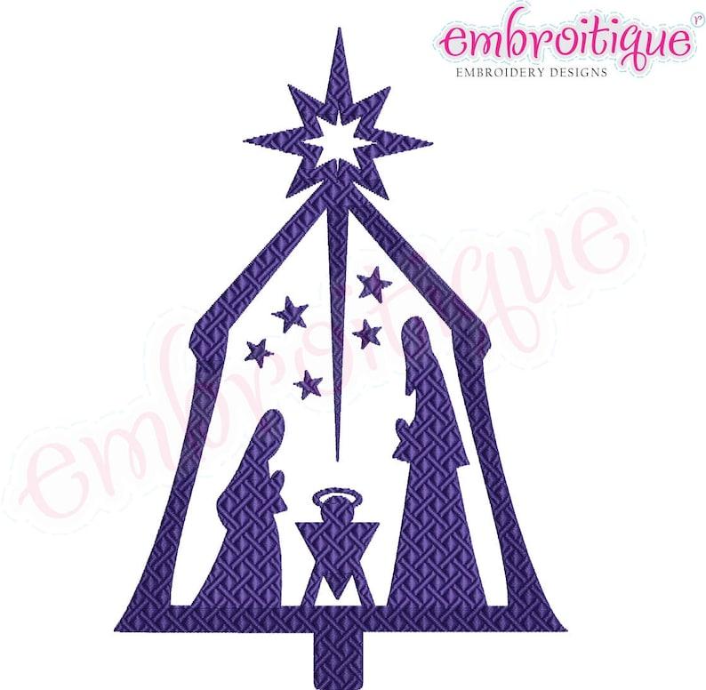 Christmas Clip Art North Star.Nativity Scene Christmas Fill Stitch Infant Jesus Mary Joseph North Star Instant Download Machine Embroidery Design