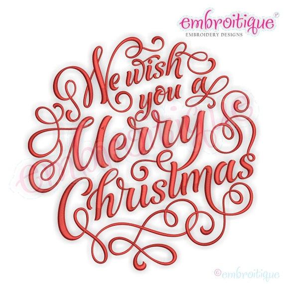 Merry Christmas Calligraphy.We Wish You A Merry Christmas Calligraphy Circle Embroidery Design Instant Download For Machine Embroidery