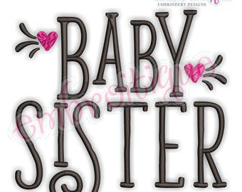 Baby Sister with Hearts  - sibling design  -Instant Download Machine Embroidery Design