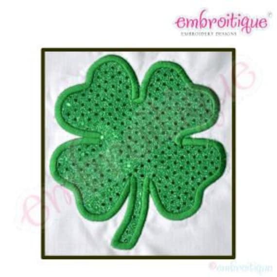 Three Leaf Clover Set 1 Shamrocks 15 Machine Embroidery Designs on CD in 2 sizes