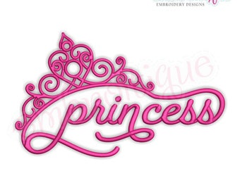 Princess in Script with Tiara - Pageants, birthdays, parties  -Instant Download Machine Embroidery Design