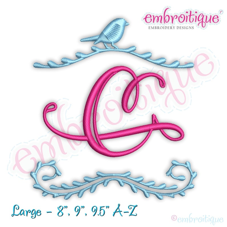 Bird Frame Monogram Font LARGE sizes - - BX files included- Instant  Download EMBROIDERY design