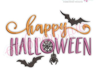 Happy Halloween with Bats and Web - Fall Autumn Spider -Instant Download Machine Embroidery Design