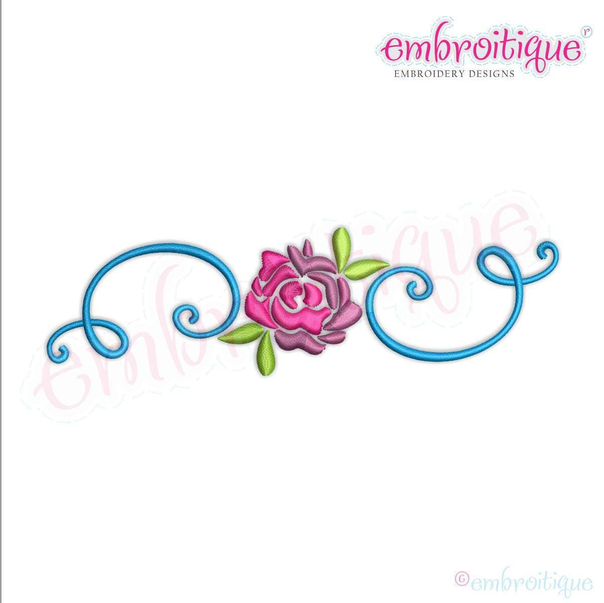Spring Flower With Curly Flourish Border Frame Instant Etsy