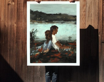 Falling  . extra large wall art . giclee print