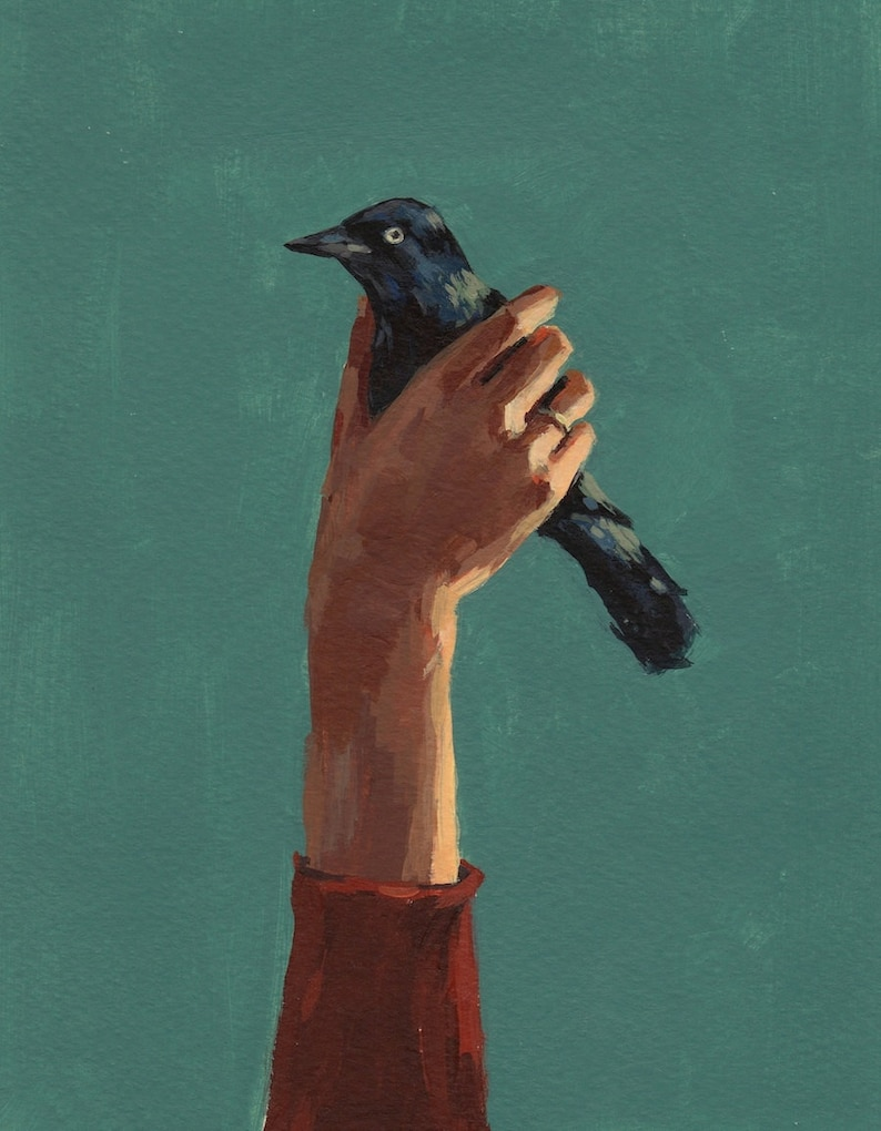 Bird in Hand . giclee art print available in all sizes image 0