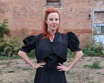 Vintage 1930s Black Taffeta Gown + Bolero Jacket Set