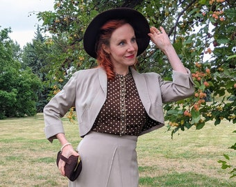 Late 1930s Early 1940s Brown & Taupe Dress and Jacket Set