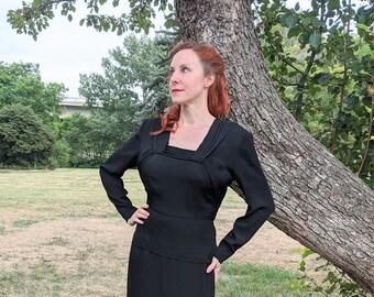 1940s Black Crepe de Chine Peplum Cocktail Dress