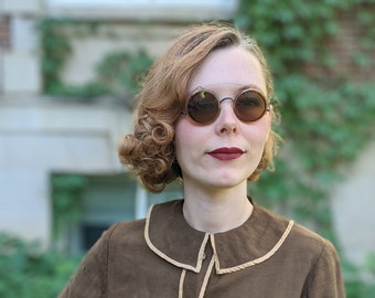AS IS 1920s 1930s Round Spectacles + Clip-on Sunglasses