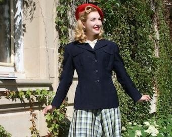 1940s 'Pretty Prep' Plaid Taffeta Ruffle Hem Chevron Skirt / As Is