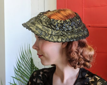 9e6757a05062f 1930s 1940s New York Creations Black Celluloid Open Crown Hat