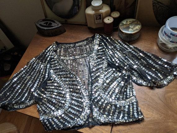 1930s Black & Silver Sequin Flutter Sleeve Bolero