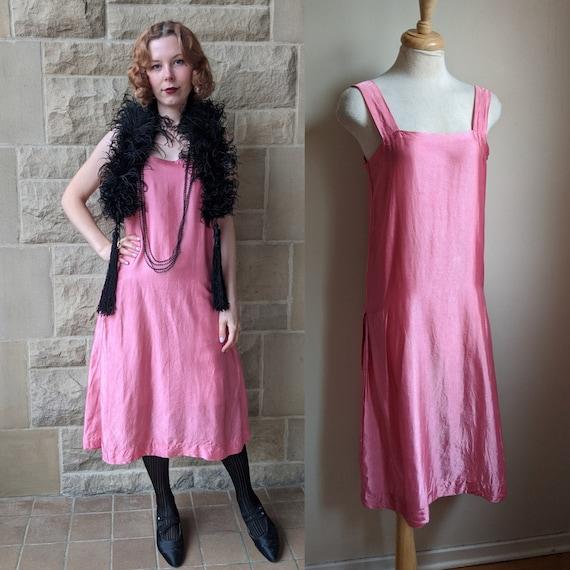 1920s bright pink woven rayon satin slip