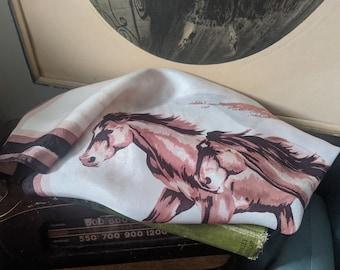 Vintage 1940s Wild Horses Novelty Print Scarf