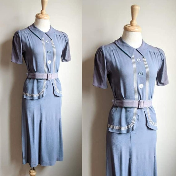 AS IS 1930s Blue Sailor Style Crepe Rayon Dress +