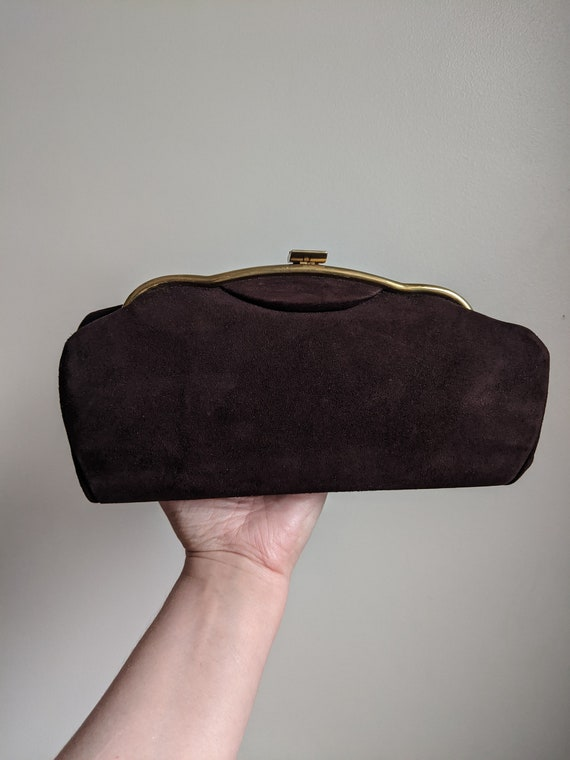 1940s Pari-Smart Brown Suede Clutch Purse