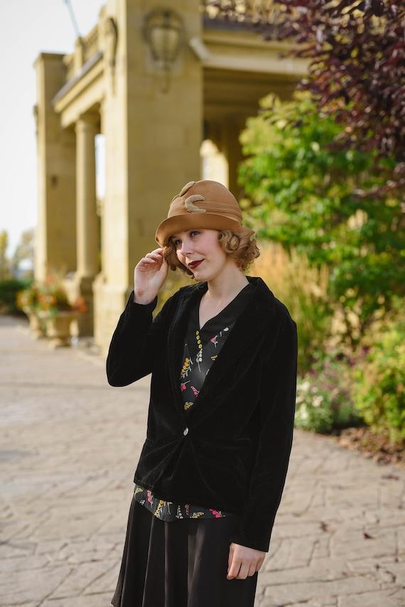 1920s Vintage Black Velvet Blazer Jacket