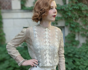 Antique 1900s Houndstooth Print Sheer Net Blouse