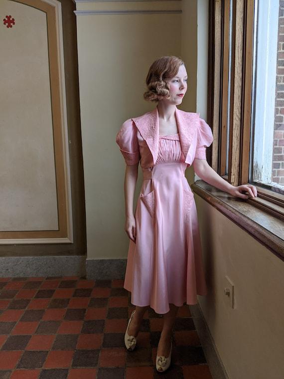 Late 1930s Pink Taffeta Dress & Bolero Set - image 3