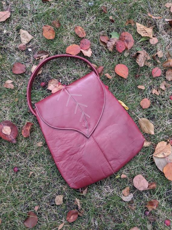 AS IS 1940s Merlot Leaf Handbag