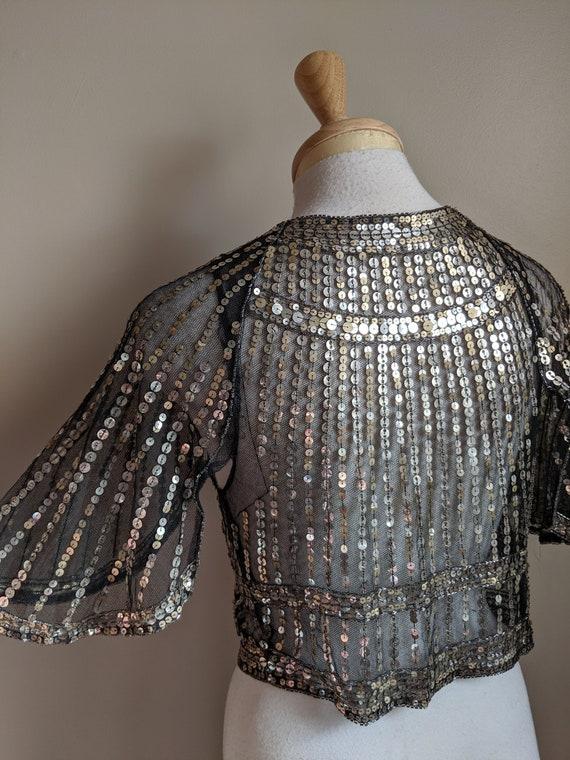 1930s Black & Silver Sequin Flutter Sleeve Bolero - image 4