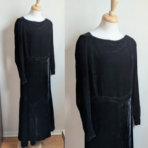 Vintage Early 1930s Black Silk Velvet Gown