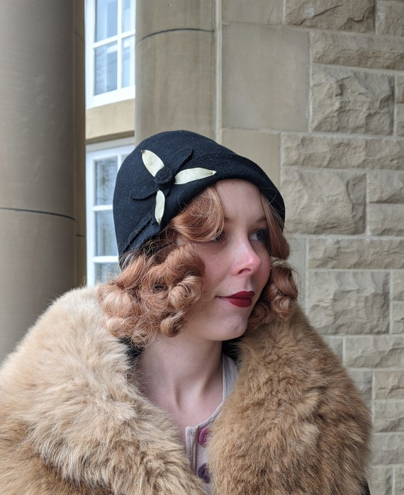 AS IS 1920s Black Flower Trimmed Cloche Hat