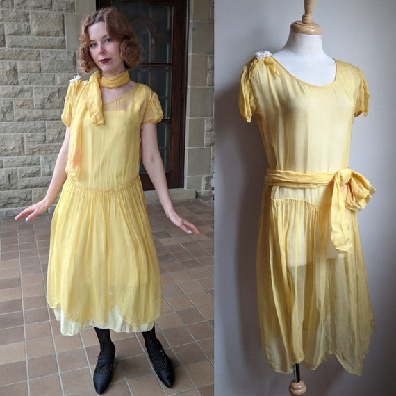 AS IS 1920s Canary Yellow Chiffon Flapper Dress