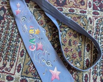 Vintage 1940s 1950s hand-painted novelty necktie