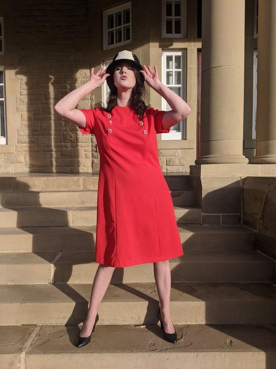 1960s Mod Tomato Red Button Shift Dress