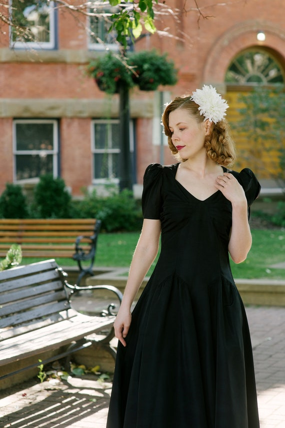 AS IS 1930s 1940s Black Taffeta Button Gown