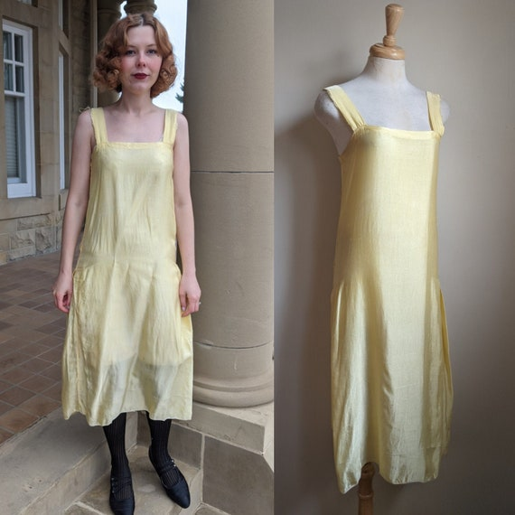 AS IS 1920s Pale Yellow Satiny Rayon Slip