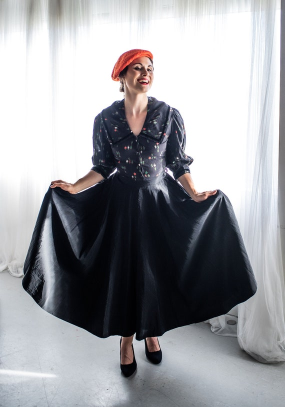 1950s black taffeta evening skirt
